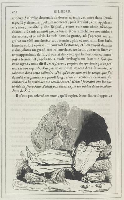 Death of the hermit, from 'Histoire de Gil Blas ... vignettes par J. Gigoux' (Paris, 1835), G.18301, 456, British Library, London