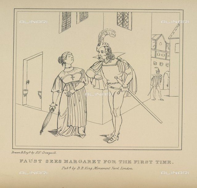 Faust and Margaret, from 'Faust, a serio-comic poem of Goethe', A Crowquill, (B. B. King: London, 1834), 638.i.23, opposite 17, British Library, London
