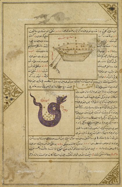 """Argo Navis and Hydra- illustrations to a treatise on astrology, from """"Miscellany of Iskandar Sultan"""" (Southern Iran, 1410-1411), Add. 27261, f.541, British Library, London"""