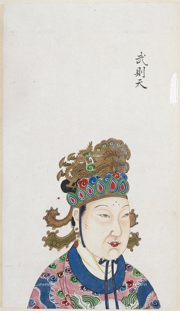 "The Empress Wu Zetian, who usurped power during the Tang dynasty in China. She ruled from AD 684 to 705, from ""An 18th century album of portraits of 86 emperors of China, with Chinese historical notes"" (China, 18th century), Or. 2231, f.51, British Library, London"