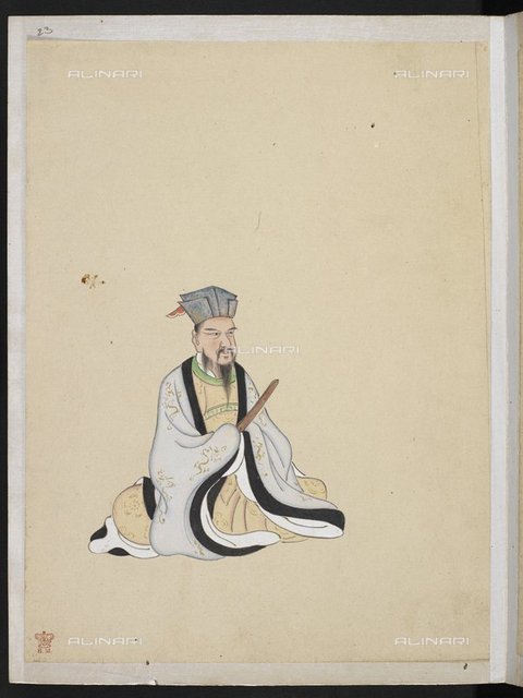 "Bo Juyi or Bai Juyi, also known as Po Chu-i,"" (772-846 AD). Chinese poet of the Tang dynasty, known for his prolific output and plain, unaffected language, from ""Portraits of 36 Chinese poets with selections of their works"" (China, c.19th century), Or. 985, f.23, British Library, London"