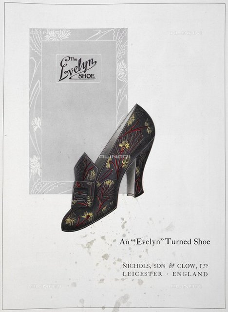 Advertisement for'the Evelyn shoe'. Floral patterned shoe with buckle, from 'The Footwear Organiser and Shoe and Leather Trades Export Journal' (London, England : 1919), The Footwear Organiser. October 1919, page 455, British Library, London