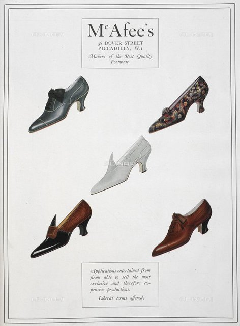 Advertisement for McAfee's footwear. Five shoes, from 'The Footwear Organiser and Shoe and Leather Trades Export Journal' (London, England : 1919), The Footwear Organiser. November 1919, page 499, British Library, London