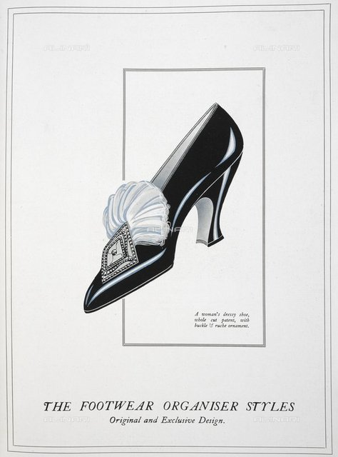 A woman's dressy shoe whole cut patent, with buckle & ruche ornament, from 'The Footwear Organiser and Shoe and Leather Trades Export Journal' (London, England : 1919), The Footwear Organiser. November 1919, page 547, British Library, London