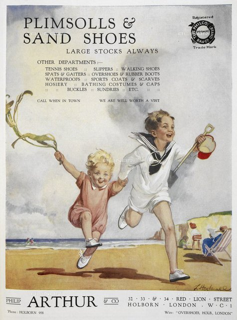 Plimsolls & sand shoes'. Advertisement for Philip Arthur & Co. Two children running on a beach, carrying a bucket and spade, from 'The Footwear Organiser and Shoe and Leather Trades Export Journal' (London, England : 1919), The Footwear Organiser. December 1919, page 621, British Library, London