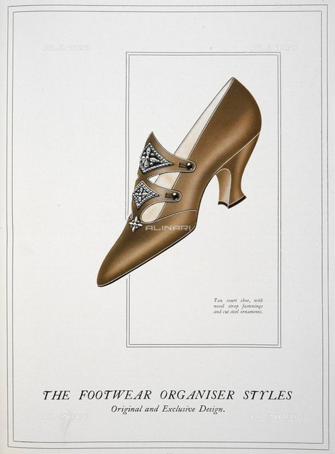 Tan court shoe, with novel strap fastenings and cut steel ornaments', from 'The Footwear Organiser and Shoe and Leather Trades Export Journal' (London, England : 1919), The Footwear Organiser. December 1919, page 663, British Library, London