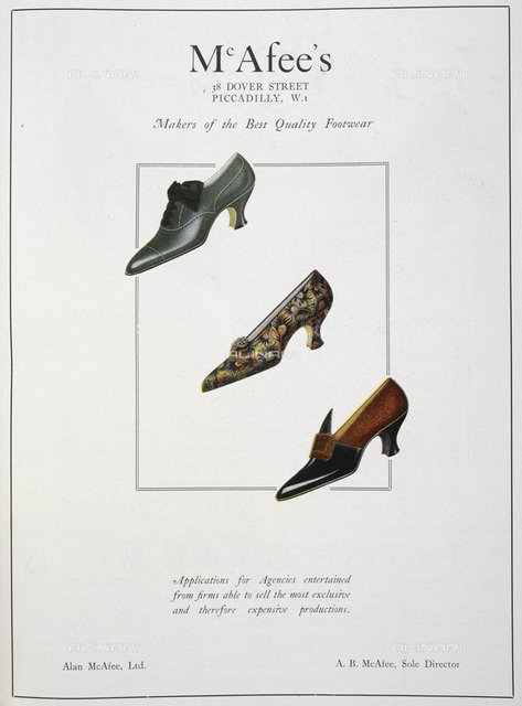 Advertisement for McAfee's (Alan McAfee Ltd.). Three shoes, for women, from 'The Footwear Organiser and Shoe and Leather Trades Export Journal' (London, England : 1919), The Footwear Organiser. December 1919, page 685, British Library, London