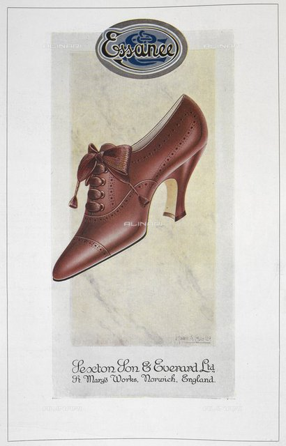 Essancee'. Brow/red ladies' shoe. Advertisement for Sexton son & Everard Ltd, from 'The Footwear Organiser and Shoe and Leather Trades Export Journal' (London, England : 1919), The Footwear Organiser. November 1919, page 574, British Library, London