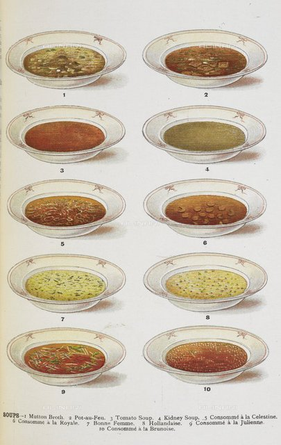 Assorted bowls of soup, from 'Mrs. Beeton's Family Cookery and Housekeeping Book ...' by Isabella Mary Beeton, (London : Ward, Lock & Co., 1907.), 07944.g.63. facing p. 464, British Library, London