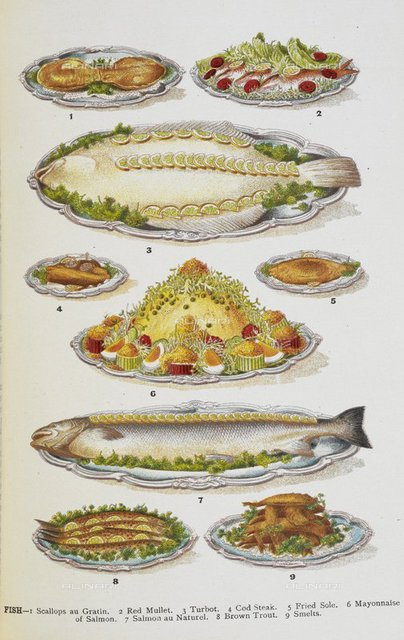 Assorted fish dishes including salmon, trout, cod and scallops, from 'Mrs. Beeton's Family Cookery and Housekeeping Book ...' by Isabella Mary Beeton, (London : Ward, Lock & Co., 1907.), 07944.g.63. facing p. 416, British Library, London