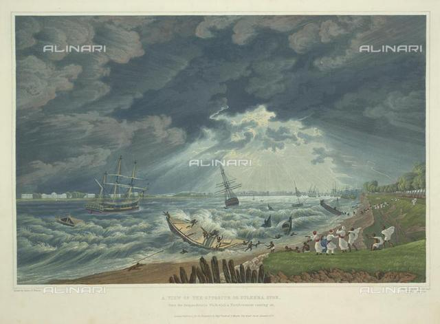 """A view of the opposite or Sulkhea side from the Respondentia Walk, with a north-wester coming on'. Several ships and boats are shown in difficulty on the river, J. Baillier Havell Fraser, from """"Views Of Calcutta And Its Environs"""" (London, 1824-1826), X 644, plate 7, British Library, London"""