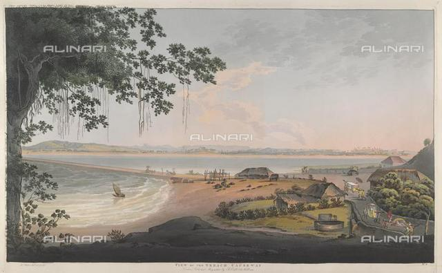 """View of the Breach causeway. Part of Bombay island, with the Parel road beyond the water in the distance, and with local versions of the sedan and palanquin visible in the foreground, from """"Bombay Views: Twelve Views Of The Island Of Bombay And Its Vicinity Taken In The Years 1791 and 1792"""" by J. Wales (London, R. Cribb, 1804), X 436, plate 5, British Library, London"""
