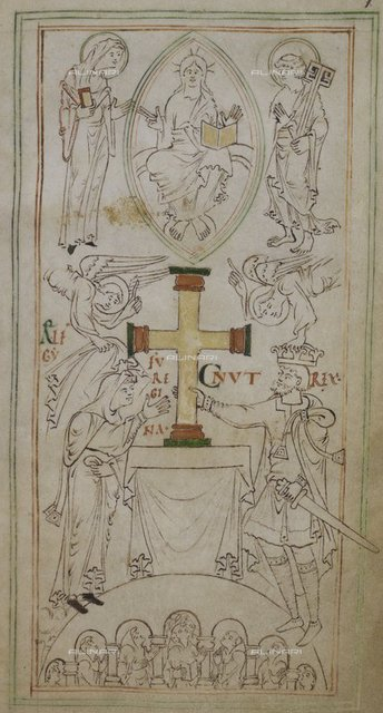 """King Canute and Queen Aelfgyfu, attended by two angels, place a cross on the altar of the New Minster, watched by a group of monks in their stalls. Above is Christ in a mandorla, between the patron saints of the New Minster, St. Mary the Virgin and St. Peter, from """"New Minster Liber Vitae"""" (New Minster, Winchester circa 1031), Stowe 944, f.6, British Library, London"""