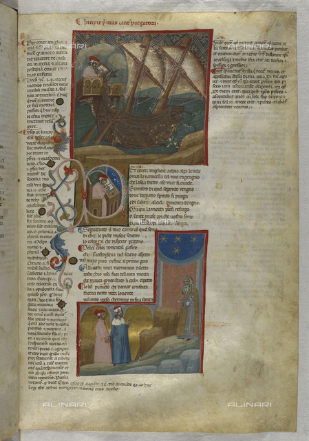 Divina Commedia, Purgatorio, Dante writing a manuscript on a sailboat, in the Dante center in the studio, below Dante and Virgilio greeted by Cato, illuminated page, 14th century Art, British Library, London