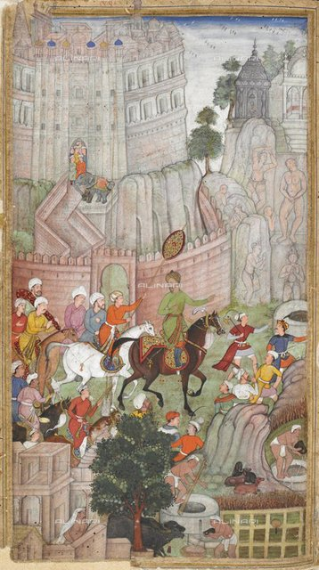 "Babur visiting the Urvah valley in Gwalior where statues had been cut out of the rocks"" (1528) (Dhanraj), from ""Vaki'at-i Baburi, the Memoirs of Babur, translated from the Turki original by Mirza 'Abd al-Rahim, Khan-i khanan. One hundred and forty-three miniatures"" (mostly with attributions) of Babur, Mirza Abd al-Rahim, Khan i-Khanan"" (c.1590), Or. 3714, vol.4 f.478, British Library, London"