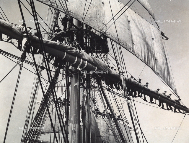"The Royal School Ship ""Amerigo Vespucci"": sailors on the yards of the ship"