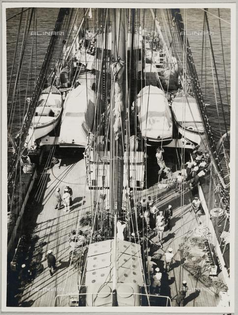 """The Royal School Ship """"Amerigo Vespucci"""": sailors on deck"""