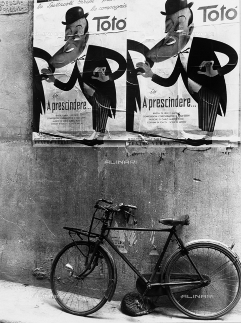 A bicycle, some poster with a Totò caricature on them and a sleeping cat underneath the bike