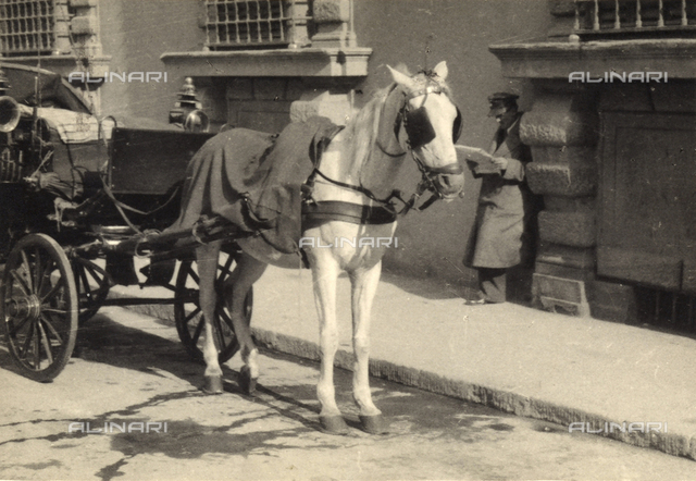 A carriage stopped at the side of the street. Postcard sent by the author to Vincenzo Balocchi