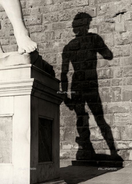 Shadow of the copy of the statue of David, Piazza della Signoria, Florence