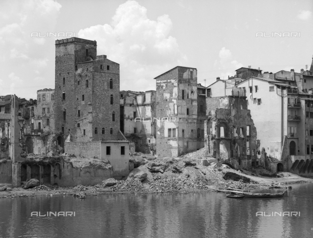 Ruins of some houses on the Lungarno Acciaiuoli Florence collapsed following the explosion of mines during the Second World War