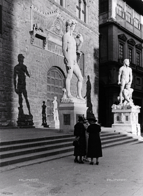 David, copy of the sculpture by Michelangelo, Piazza della Signoria, Florence