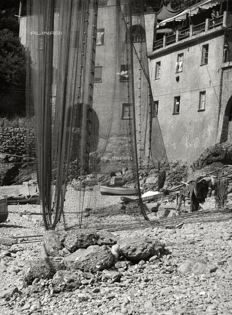 Nets hung on the San Fruttuoso beach