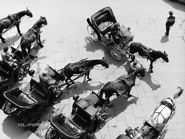 Carriages in the Piazza della Signoria in Florence