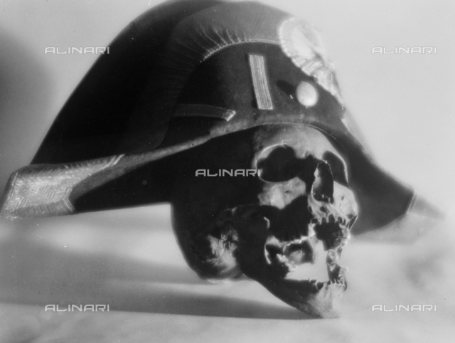 "Skull with ""Napoleonic"" hat; photo studio"