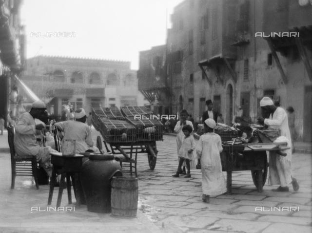 Street vendors on a street, Egypt