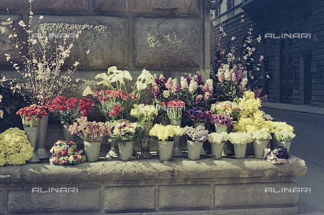 Vases of flowers on a street corner in Florence