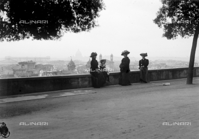 Portrait of the girl group photographed on the terrace of the Pincio at Villa Borghese