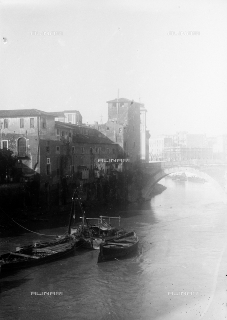 View of the Tiber and the bridge Cestius in Rome