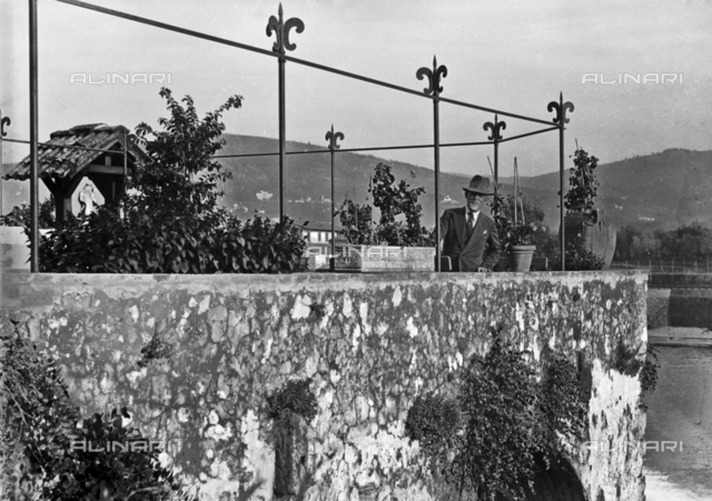 Portrait of a man on the terrace of the watermill of Rovezzano