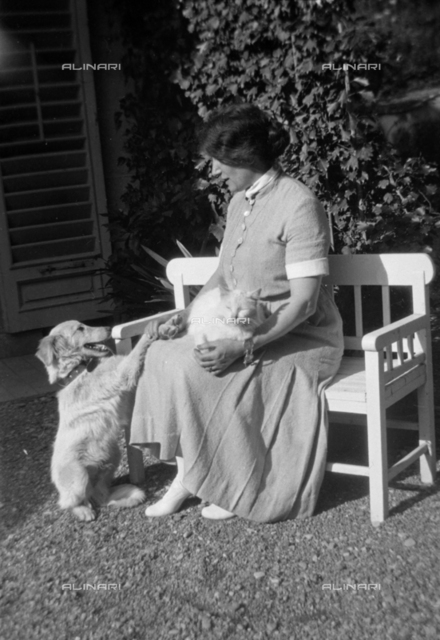Portrait of a woman sitting on a bench, with a cat on her lap and a dog