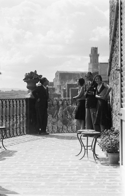 Portrait of a group on a terrace in Pitigliano