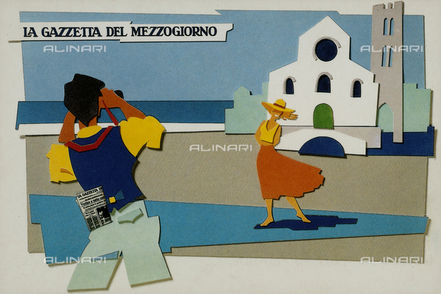 Postcard that advertises La Gazzetta del Mezzogiorno