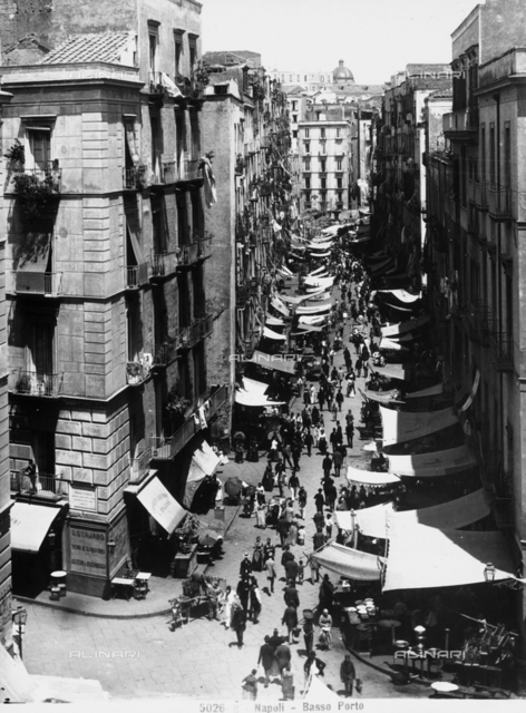 View from above of a lively street in Naples, in the Basso Porto neighborhood