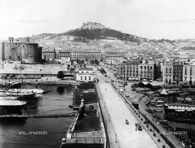 View of the hill where the city of Naples stands, with the port area in the foreground from which the photograph was taken