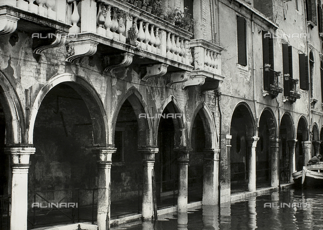 Arcades of Venice with high water