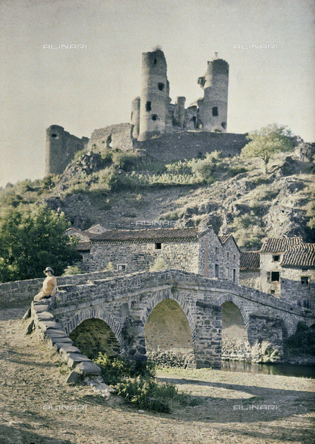 The ruins of the medieval castle of Domeyrat, France