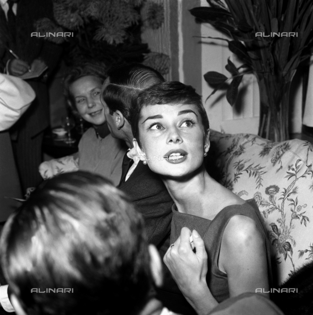 Audrey Hepburn at a press conference