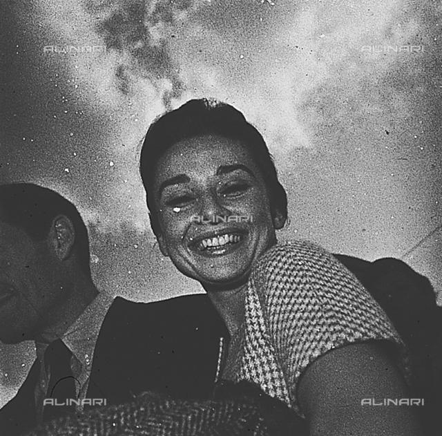 Audrey Hepburn arriving at Ciampino airport with Mel Ferrer