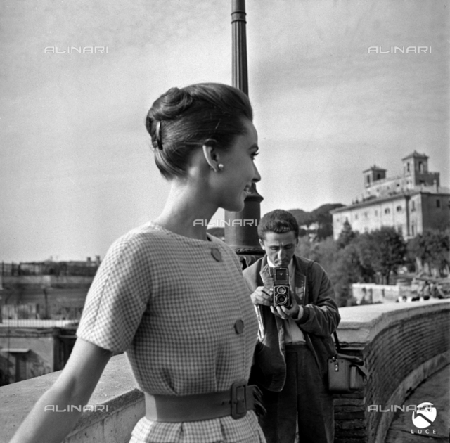 Audrey Hepburn during a photo shoot at Trinità dei Monti