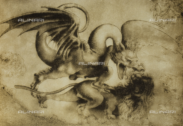 Battle between a dragon and a lion, drawing, Leonardo da Vinci, Gabinetto dei Disegni e delle Stampe, Uffizi Gallery, Florence.