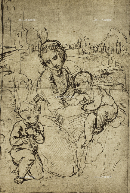 Madonna and Child with the infant St. John, drawing by Raphael, Gabinetto dei Disegni e delle Stampe, Uffizi Gallery, Florence