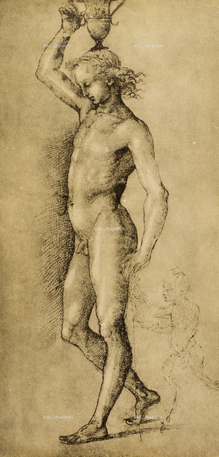 Nude youth carrying an amphora on his head, drawing by Raphael, Gabinetto dei Disegni e delle Stampe, Uffizi Gallery, Florence