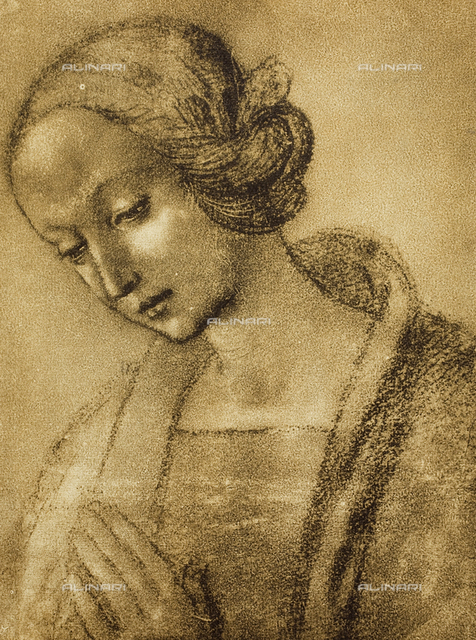 Virgin in Prayer, drawing, Raffaello, Room of Drawings and Prints in the Museum of the Uffizi.