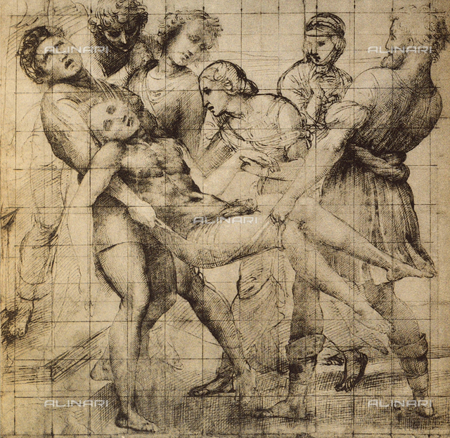 Preparatory drawing for the Baglioni Altarpiece, displayed in the Uffizi Gallery, in the Gabinetto dei Disegni e delle Stampe, Florence