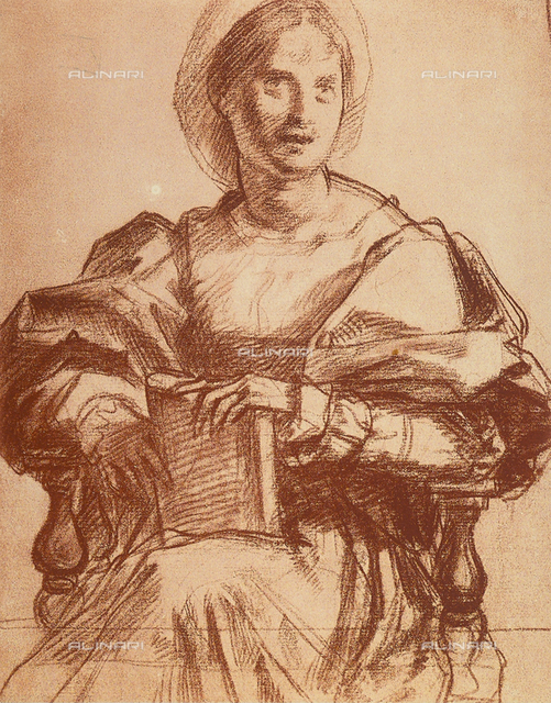 Seated woman holding a book or a portrait of Lucrezia del Fede. Drawing by Andrea del Sarto, in the Uffizi Gallery, in the Gabinetto dei Disegni e delle Stampe.